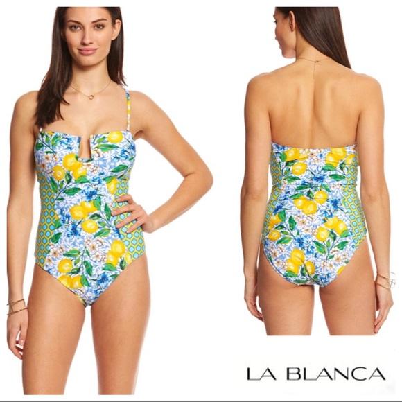 758fe2640c830 La Blanca Limoncello Bandeau One Piece Swimsuit